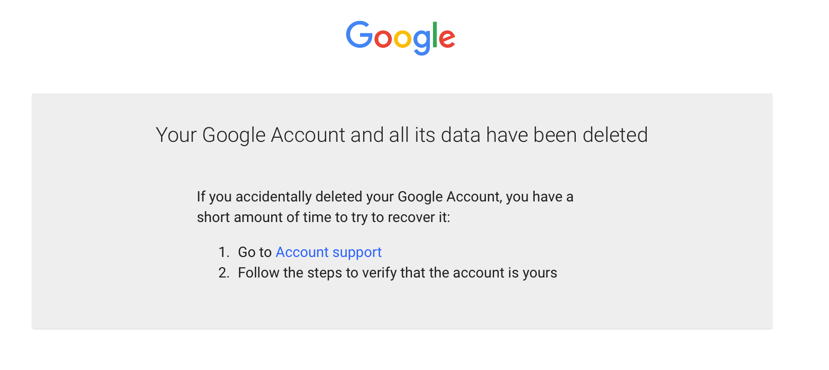 Google Account Deletion screenshot