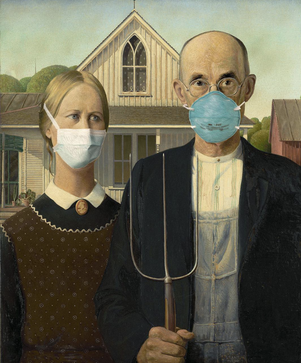American Gothic with masks