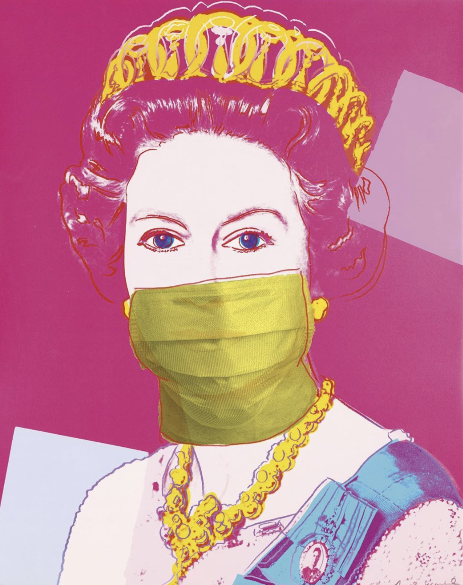 Warhol Queen wearing a mask