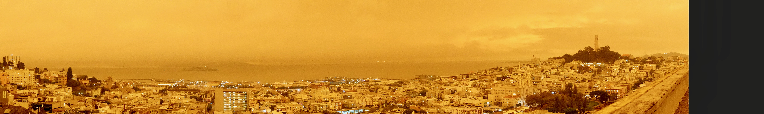 sepia/yellow skies over San Francisco