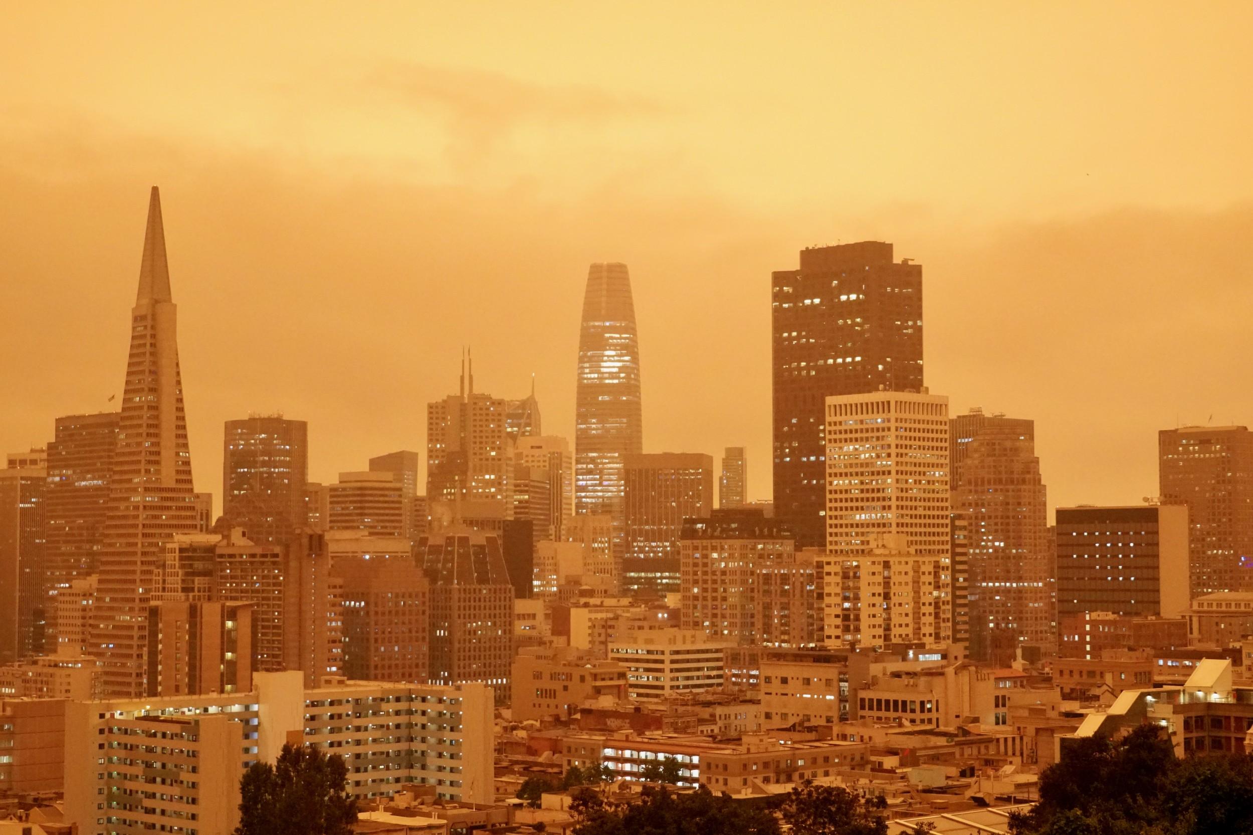 sepia/yellow SF Downtown