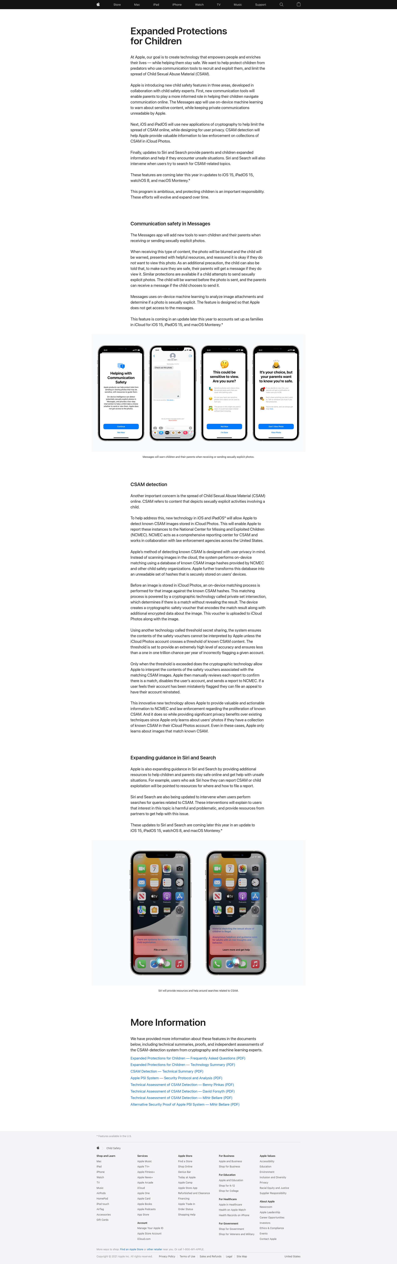 Screenshot of Apple Child Safety Statement taken on 2021-08-10